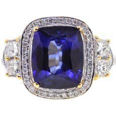 White Gold Blue Sapphie Diamond Womens Engagement Ring